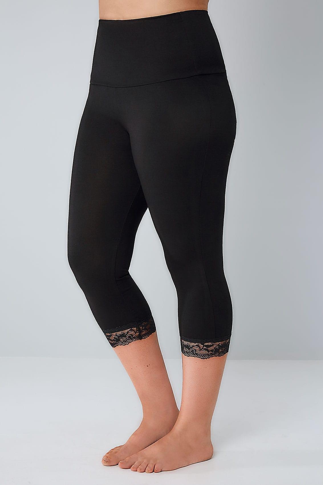 Schwarzen Bauch CONTROL abgeschnitten Leggings mit Lace Trim