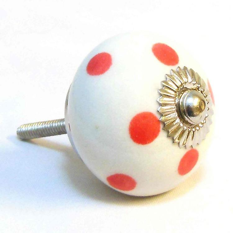 White / Red Spots Ceramic Cupboard Knob