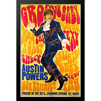 Austin Powers bambino Groovy Cast firmato Movie Poster incorniciato