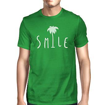 Sorriso di Palm Tree verde Mens estate Tshirt di cotone leggero per lui