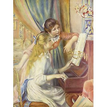 Pierre Auguste Renoir - Playing Piano Poster Print Giclee