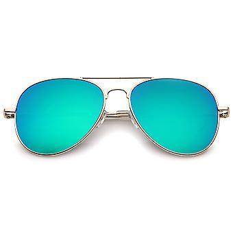 Small Full Metal Color Mirror Teardrop Flat Lens Aviator Sunglasses 56mm