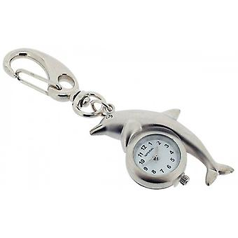 Gift Time Products Dolphin Clock Key Ring - Silver