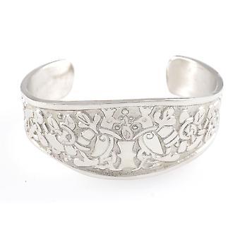 Handgemaakte Keltische levensboom Matte afwerking tinnen Manchet armband (instelbaar)