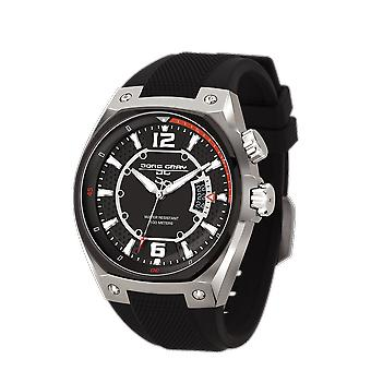 Men's Watch JG8300-13 - Black Silicon Strap - Black Dial - Jorg Gray