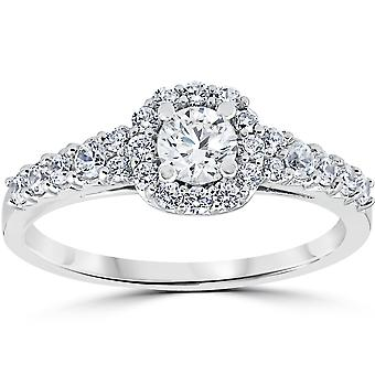 3/4CT Cushion Halo Round Diamond Engagement Ring 14K White Gold