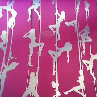 Erotic Pole Dancers Wallpaper Girls Metallic Silver Pink Christophe Koziel