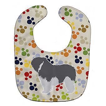 Carolines tesoros BB6337BIB polaca Sheepdog perros Pawprints babero