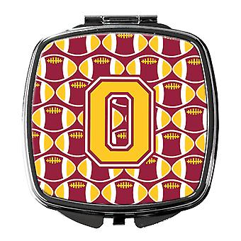 Letter O Football Maroon and Gold Compact Mirror