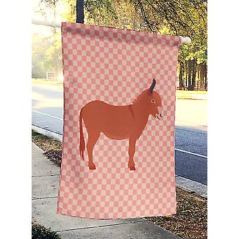 Carolines Treasures  BB7848CHF Irish Donkey Pink Check Flag Canvas House Size