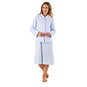 Slenderella BJ8305 Women's Blue Robe Long Sleeve Dressing Gown