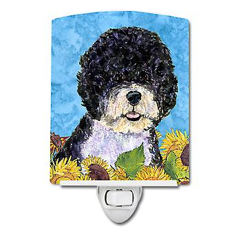 Portuguese Water Dog in Summer Flowers Ceramic Night Light