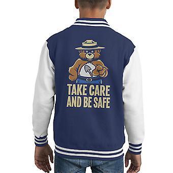 Smokey Bar Take Care And Be Safe Kid's Varsity Jacket