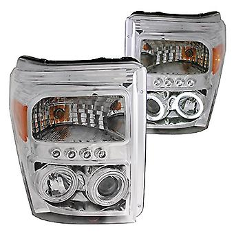 AnzoUSA 111272 Chrome/Clear/Amber Halogen Projector Headlight for Ford Super Duty Truck