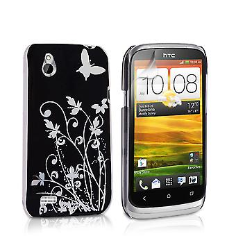 Yousave HTC Desire X Floral Butterfly Hard Case - Black-Silver