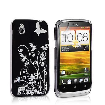 Yousave HTC Desire X blommig fjäril hårt fodral - svart-Silver