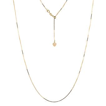 10k Yellow Gold Adjustable Box Chain with Spring Ring Clasp and Small Heart Charm, 24 inch