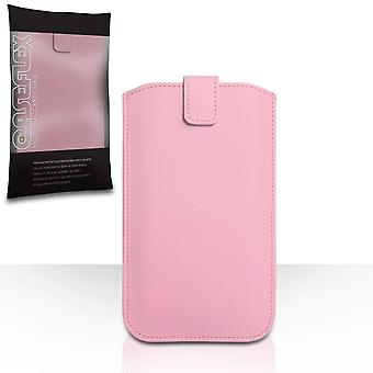 Caseflex PU Leather Auto Return Pull Tab Pouch (L) - Baby Pink