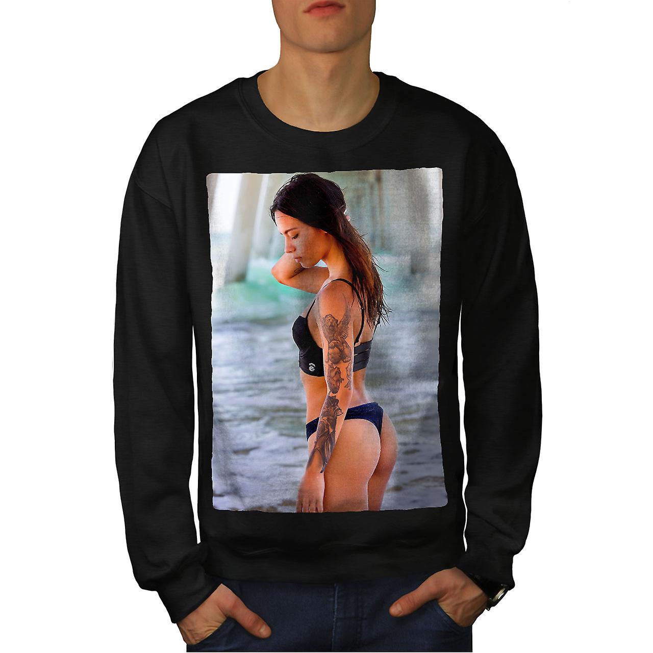 Femme en maillot de bain hommes noirSweatshirt