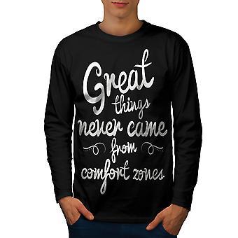 Comfort zone uomini BlackLong Sleeve t-shirt | Wellcoda