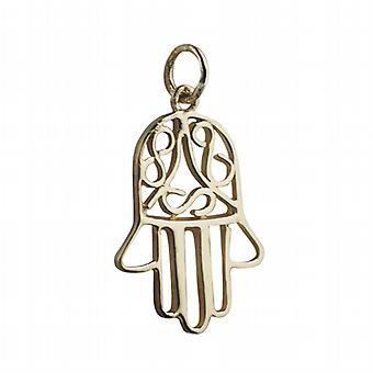 18ct Gold 24x12mm Hand of Fatima Pendant or Charm