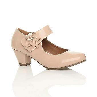 Ajvani женская низкий блок котенка пятки Мэри Джейн стиле цветок кожа выстроились работы суда туфли насосы
