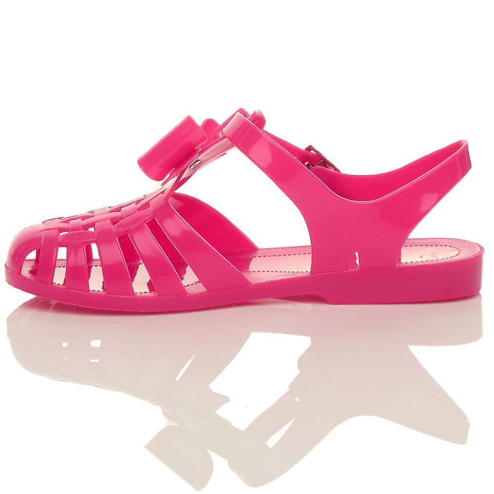 cf7746bb5596 Ajvani womens retro diamante bow 90 s gladiator fisherman jelly sandals