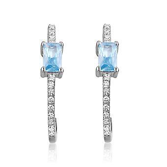 Oorbellen in zilver en 28 kristallen Swarovski Cubic Zirconia wit en blauw
