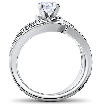 1 ct Diamond Round Solitaire Engagement Ring Wedding Band Set 14k White Gold Set