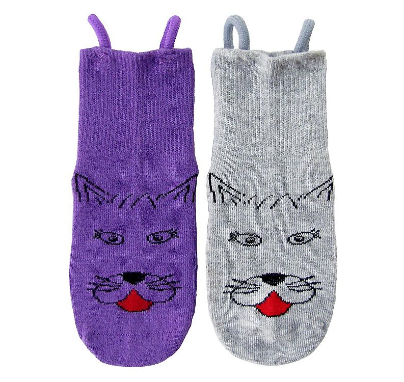 Kitty Cat EZ SOX Socks - 2 Pairs, 2 to 3 Years