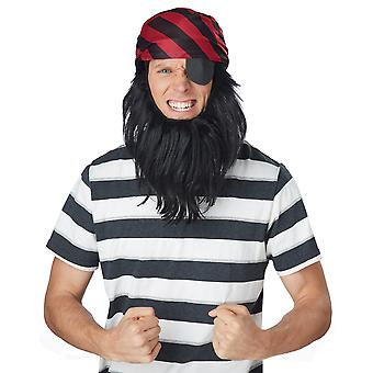 Pirate Captain Caribbean Getup Book Week Men Costume Bandana Eye Patch Beard Kit