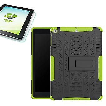 Hybrid outdoor protective cover green for NEW Apple iPad 9.7 2017 bag + 0.4 H9 tempered glass