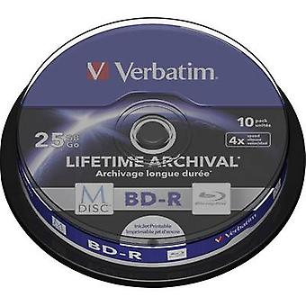Verbatim 43825 Blank M-Disc Blu-ray DVD 25 GB 10 pc(s) Spindle Printable