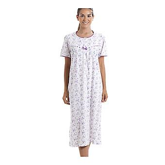 Camille Classic Short Sleeve Purple Floral Print 100% Cotton White Nightdress
