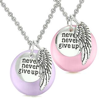 Aile d'ange inspiration Never Give Up amour Couple amulettes chats simulé Purple rose oeil colliers