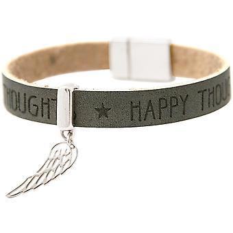 Gemshine - kvinnor - armband - skydd ängel - vingar - 925 Silver - önskemål - antracit - grå - magnetlås