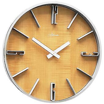 アトランタ 4426/30 壁時計石英アナログ銀木アルダー色ラウンドします。