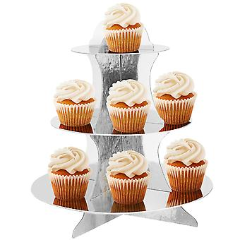 3 Tier Reusable Card Cupcake Muffin Stand Metallic Silver TRIXES