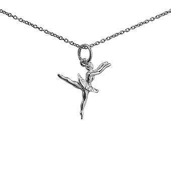 Silver 20x15mm Ballet Dancer Pendant with a 1mm wide rolo Chain 24 inches