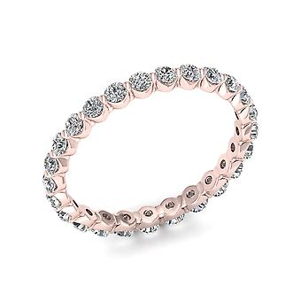 IGI Certified 1.00 Ct Round Cut Diamond Women's Eternity Band in 14k Rose Gold