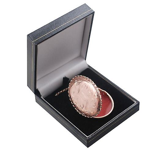 9ct Rose Gold 48x38mm hand engraved twisted wire edge oval Locket with belcher Chain 16 inches Only Suitable for Children