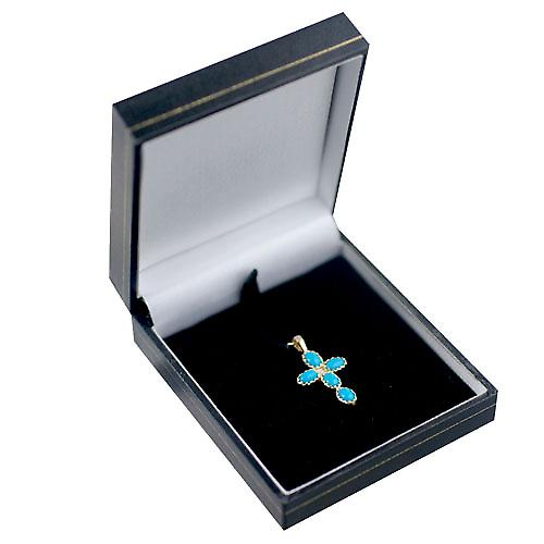 9ct Gold 25x16mm Cross set with 5 Turquoise and 1 Pearl