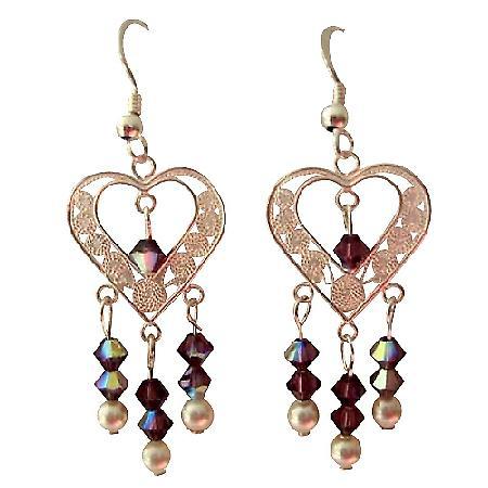 AB Amethyst Swarovski Crystal Sterling 92.5 Heart Chandelier Earrings