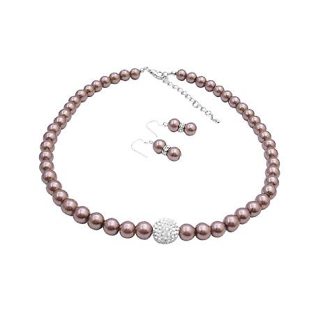Nickle Free Jewlery Bronze Brown Pearl With Cubic Zircon Pave Ball Pendant Necklace Earrings Set