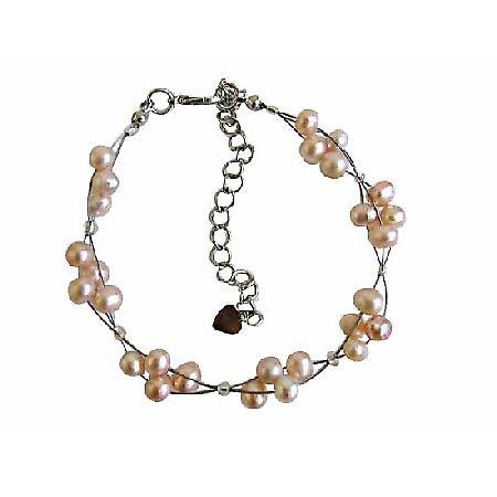 Peach Freshwater Pearls White Pearls 3 Stranded Wire Bracelet
