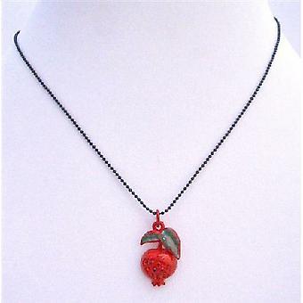 Glitrende røde emalje Apple anheng Cubic zirkon svart Beaded halskjede
