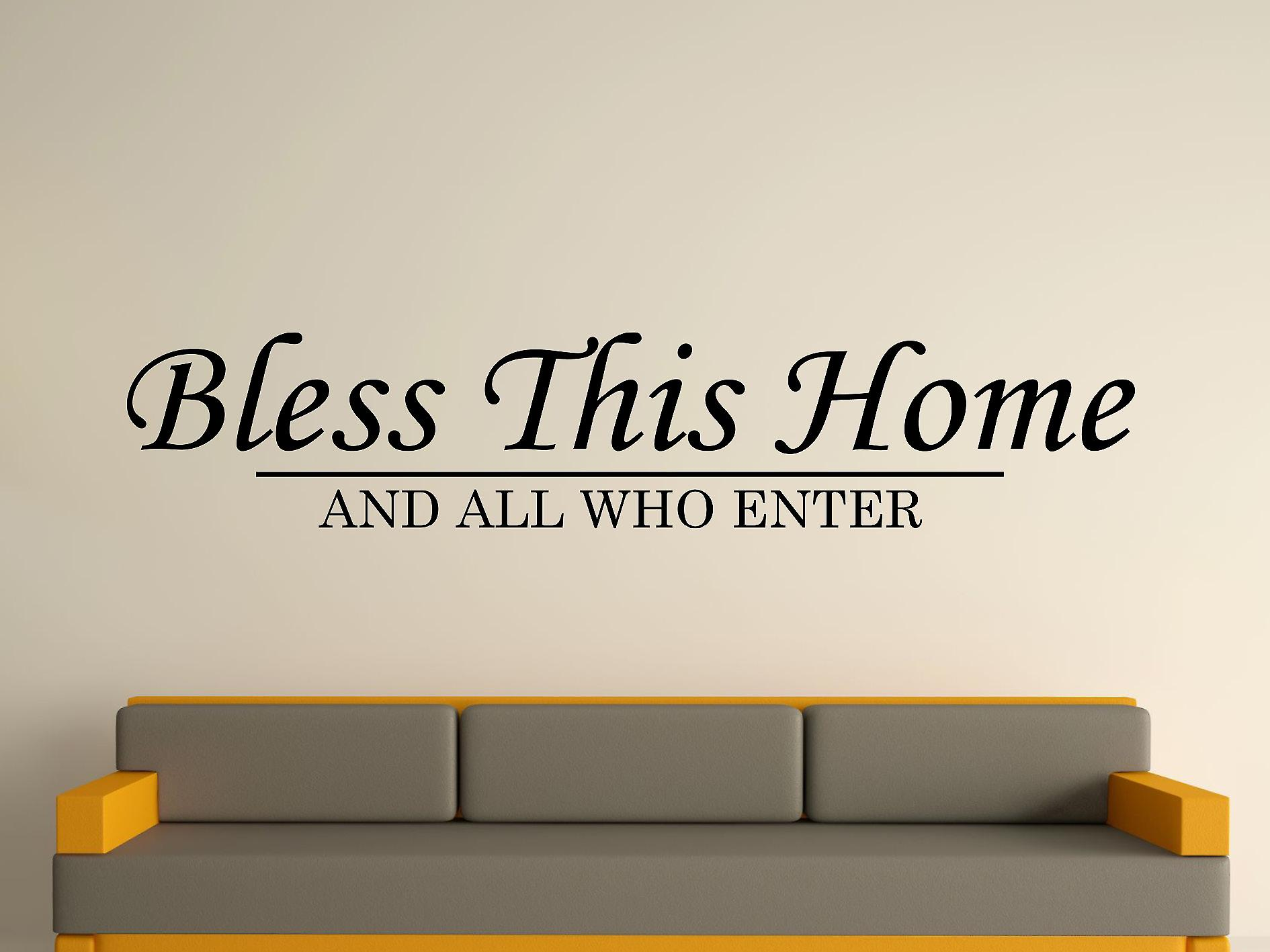Bless This Home Wall Art Sticker - Black