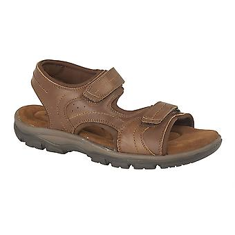Mens Leather Sandals Twin Touch Fastening Padded Suede Sock Shoes