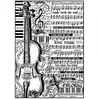 Stamperia Rice Paper A4 Sheet Music with Violin (DFSA4188)