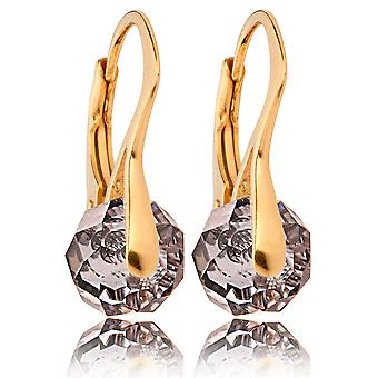 Women's Stunning Gold Over Sterling Silver Briolette Round Earrings